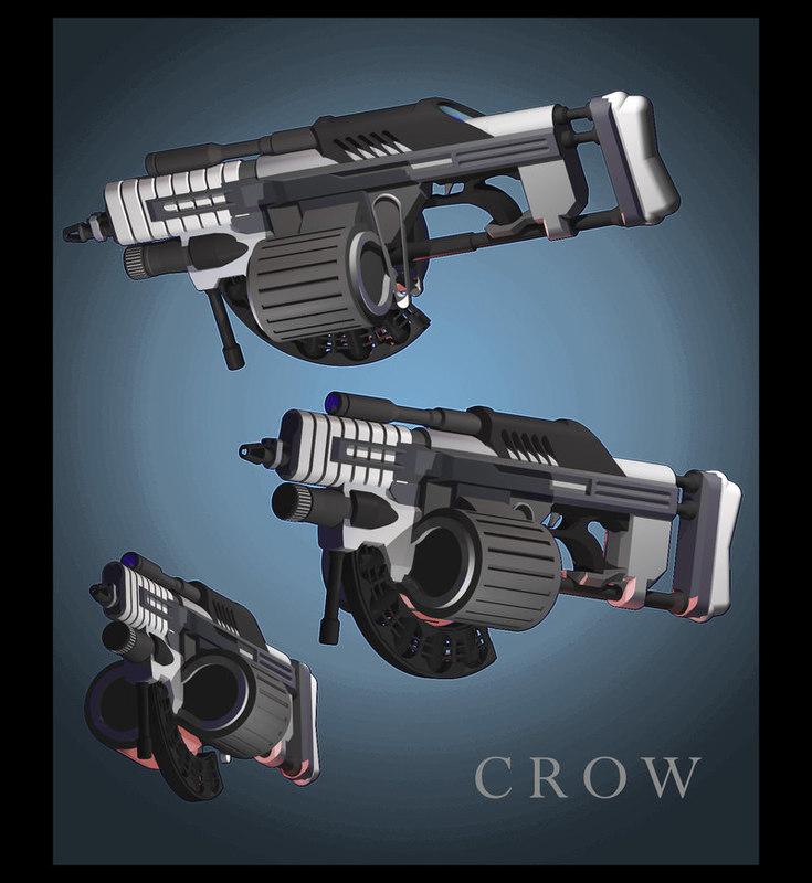 3d crow machine gun model